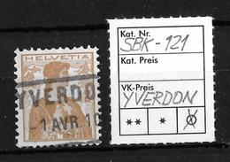 1909 HELVETIA BRUSTBILD → SBK-121, Fahrpost-Stempel YVERDON, 1 AVR 10 - Gebraucht