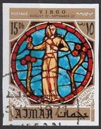 774 Ajman 1971 Segni Zodiaco Virgo Vergine - Stainled Glass Window Vetrata Notre Dame Imperf. Zodiac - Astrologia