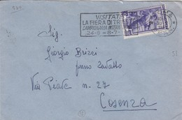 Italia Rep. 1954 -  Busta Da Roma X Cosenza Del 30/9/54 Affrancata Con L. 20 Italia Al Lavoro - 6. 1946-.. Repubblica