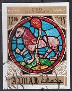 773 Ajman 1971 Segni Zodiaco Leo Leone - Stainled Glass Window Vetrata Notre Dame Imperf. Zodiac - Astrologia