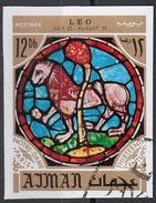 773 Ajman 1971 Segni Zodiaco Leo Leone - Stainled Glass Window Vetrata Notre Dame Imperf. Zodiac - Vetri & Vetrate