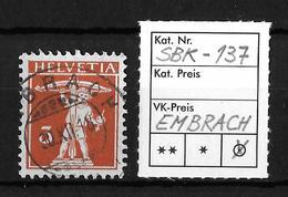 1909-1933 TELLKNABE MIT ARMBRUST→ SBK-137, EMBRACH 30.XII.18 - Gebraucht