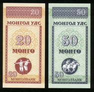Mongolei 1993, 20 + 50 Mongo - UNC - Erhaltung I - Mongolia
