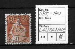 1908-1940 HELVETIA MIT SCHWERT→ SBK-140, LAUSANNE 14.II.28 - Gebraucht