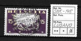 1919 FRIEDENSMARKEN → SBK-145, LUGANO 25.VIII.19 - Gebraucht