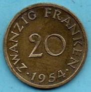 R300/  GERMANY SAARLAND / SARRE  20 Franken 1954 - Sarre