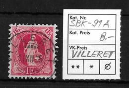 STEHENDE HELVETIA Gezähnt → SBK-91A, VILLERET 11.XI.05 - 1882-1906 Armoiries, Helvetia Debout & UPU
