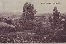 08 Quatre-Champs 1907 Vue Générale Avec Locomotive Fumante Type émaillée 328 Habitants En 1908 - Autres Communes