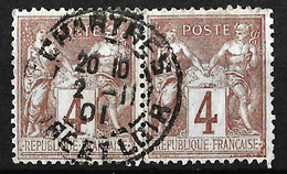 Paire De Sage 4c Oblitération Chartres Novembre 1901. TB - 1898-1900 Sage (Type III)