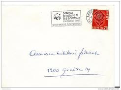 """25263 - Fragement D'enveloppe Suisse Avec Flamme """"Sauvez La Nature Et Les Animaux WWF""""   1965 - Lettres & Documents"""