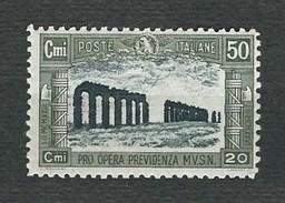 ITALIA 1928 - Pro Opera Previdenza Milizia - 50 C. + 20 C. Oliva E Nero -  MH - Sa 221 - Nuovi