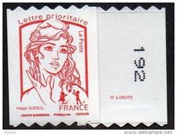 France Autoadhésif N° 1256.** Marianne De Ciappa Et Kawena. Roulette Prioritaire Sans Le Grammage, Verso à Droite (PRO) - France