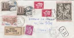 Yvert 1569 Bourdelle + 1499 X 2 + 1501 + 1536 + 1536B X 2 Cheffer Sur Lettre Recommandée EPINAL Rue Thiers Vosges 1969 - France