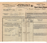 Avertissement Extrait Des Roles Contributions De 1917 Commune Et Section De Court-Saint-Etienne PR4452 - Belgique