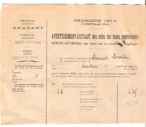 Avertissement Extrait Des Rôles Des Taxes Provinciales Commune De Court-Saint-Etienne En 1914 PR4454 - Belgique