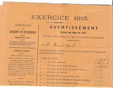 Avertissement Extrait Des Rôles Contributions De 1915 Commune Et Section De Court-Saint-Etienne PR4455 - Belgique