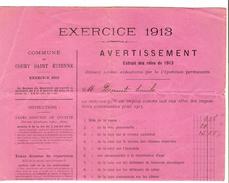 Avertissement Extrait Des Rôles Contributions De 1913 Commune Et Section De Court-Saint-Etienne PR4456 - 1900 – 1949
