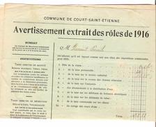 Avertissement Extrait Des Rôles Contributions De 1916 Commune Et Section De Court-Saint-Etienne PR4458 - Belgium