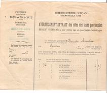 Avertissement Extrait Des Rôlesdes Taxes Provinciales En 1916 Commune Et Bureau De Court-Saint-Etienne PR4459 - Belgium