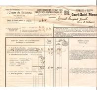 Avertissement Extrait Des Rôles Contributions De 1916 Commune Et Section De Court-Saint-Etienne PR4461 - 1900 – 1949
