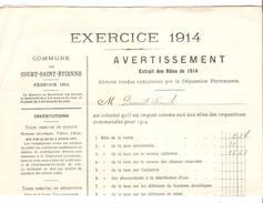 Avertissement Extrait Des Rôles Contributions De 1914 Commune De Court-Saint-Etienne PR4462 - Belgique