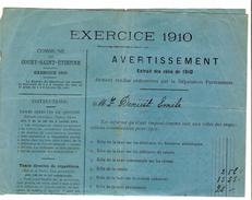 Avertissement Extrait Des Rôles Commune De Court-Saint-Etienne En 1910 PR4463 - Belgium