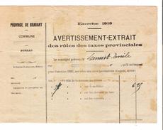 Avertissement Extrait Des Rôles Des Taxes Provinciales Commune De Court-Saint-Etienne En 1919 PR4464 - Belgium