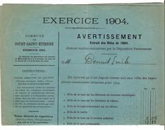 Avertissement Extrait Des Rôles De La Commune De Court-Saint-Etienne En 1904 PR4467 - Belgique