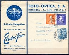1952 , BARCELONA , SOBRE COMERCIAL FOTO - OPTICA , FOTOGRAFIA , CIRCULADO A WILDBERG , ED. 1049 , 1074 , 1109 - 1951-60 Covers