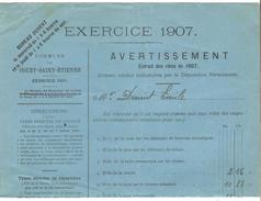 Avertissement Extrait Des Rôles De La Commune De Court-Saint-Etienne En 1907 PR4470 - 1900 – 1949