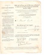 Avertissement Du Rôle De La  Taxesur Le Revenu Cadastral De La Commune De Court-Saint-Etienne En 1903 PR4474 - 1900 – 1949