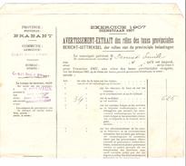Avertissement Extrait Des Rôles Des Taxes Provinciales Commune De Court-Saint-Etienne En 1907 PR4475 - Belgique