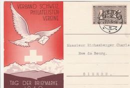 Suisse Cachet Sierres Sur Carte 1943 - Marcophilie