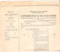 Avertissement Extrait Des Rôles Des Taxes Provinciales Commune De Court-Saint-Etienne En 1909 PR4476 - Belgium