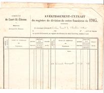 Avertissement Extrait Du Registre De Division De Cotes Foncières De La Commune De Court-Saint-Etienne En 1903 PR4477 - Belgique