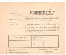 Avertissement Extrait Des Rôles De La Taxe Provinciale Commune De Court-Saint-Etienne En 1905 PR4478 - Belgique