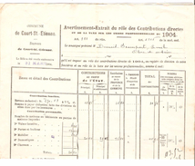 Avertissement Extrait Du Rôle Des Contributions Directes Commune De Court-Saint-Etienne En 1904 PR4480 - Belgique