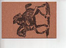 REF 281  : CPSM Carte En Liège Coppia A Cavallo Sardegna - Cartes Postales