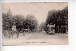 REF 280  : CPA 36 TOURS Avenue De Grammont Beau Plan Tramway - Tours