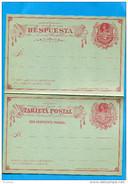 MARCOPHILIE -CHILI-card -tarjeta - Entier Postal- Neuf-colon--2cent Rouge1890-Con Repuesta Pagada - Chile
