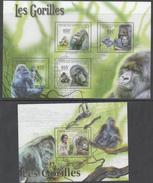 CENTRAL AFRICAN REPUBLIC , 2011, MNH, PRIMATES, GORILLAS,  SHEETLET +S/SHEET
