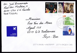 Portugal: Airmail Cover To Netherlands, 2015, 4 Stamps, Architecture, Bus, Surfing, Fireworks, Air Label (traces Of Use) - 1910-... República