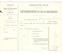 Avertissement Extrait Des Rôles Des Taxes Provinciales Commune De Court-Saint-Etienne En 1906 PR4482 - Belgique