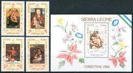 1984 Sierra Leone Natale Christmas Noel Quadri Paintings Peintures Set + Block MNH** RR97 - Sierra Leone (1961-...)