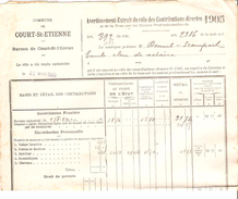 Avertissement Extrait Du Rôle Des Contributions Directes Commune De Court-Saint-Etienne En 1905 PR4483 - Belgique