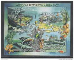 ARUBA , 2007 ,MNH, SHIPWRECKS, SHIPS, PLANES, TURTLES, FISH, SHEETLET - Tortues