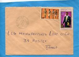 MARCOPHILIE-lettre-TCHAD>Françe-cad BARDAT1974-2-stamps N°danse Yondo-239 Président - Tsjaad (1960-...)