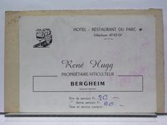 67 - BERGHEIM - VINS D'ALSACE - FACTURE HOTEL + COMMANDE DE VINS - Food