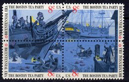 USA 1973 Bicentennial, The Boston Tea Party Block Of 4, MNH (SG 1501/4) - Vereinigte Staaten