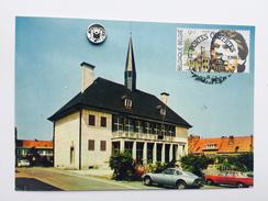 """PERWEZ """"L'Hôtel De Ville """" Timbre Hommage à JACQUES BREL 1988 , Véhicules Anciens NELS - Perwez"""